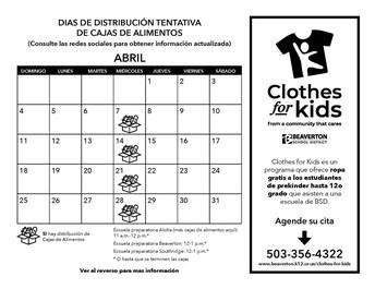 Dias de Distribución Tentativa de Cajas de Alimentos/Clothes for Kids