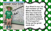 CRMS's First VIP member of The Million Word Club