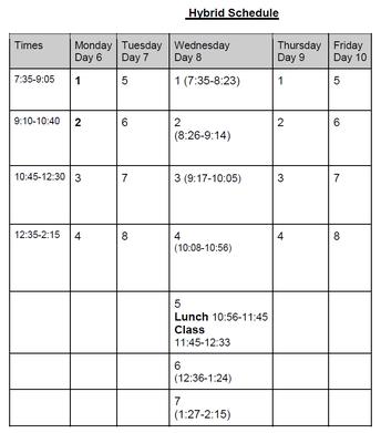 Hybrid Schedule Week of 10-19-20