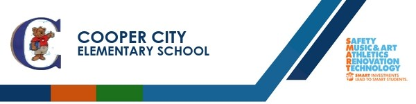 A graphic banner that shows Cooper City Elementary School's name and SMART logo