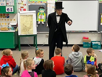 Abe Lincoln Visits SES on Presidents' Day