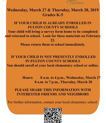 Kindergarten Registraion for 2018-19
