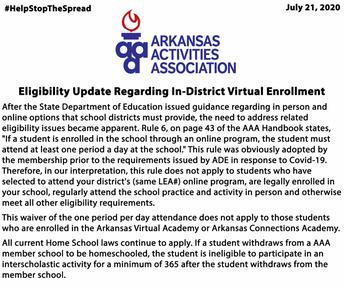 Arkansas Activities Association Eligibility Information