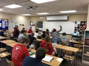 Student in Spanish II engage in review activity for upcoming quiz