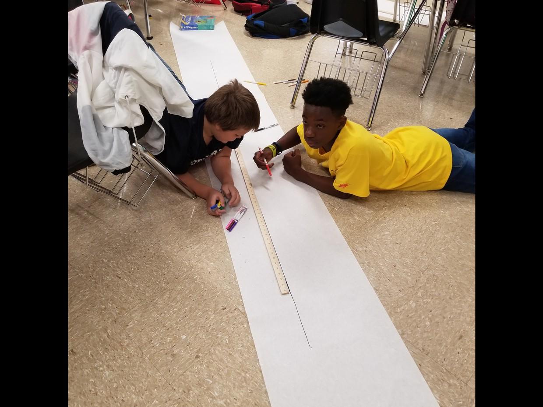 Mr. Toney's 7th grade math students making math chart