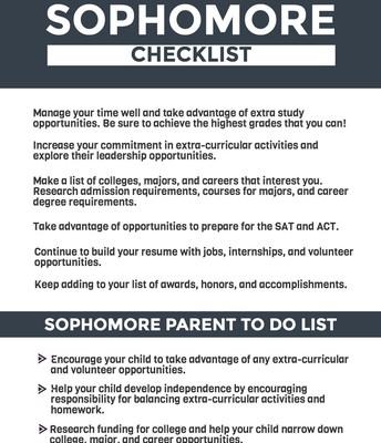 Sophomore Checklist