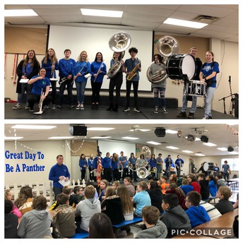 High School Band comes and speaks to 5th grade!