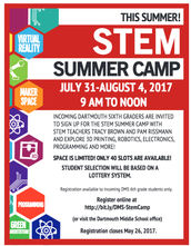 STEM Summer Camp for 5th Graders going to Dartmouth