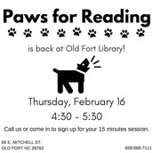 Paws for Reading - Share Out to Old Fort Families