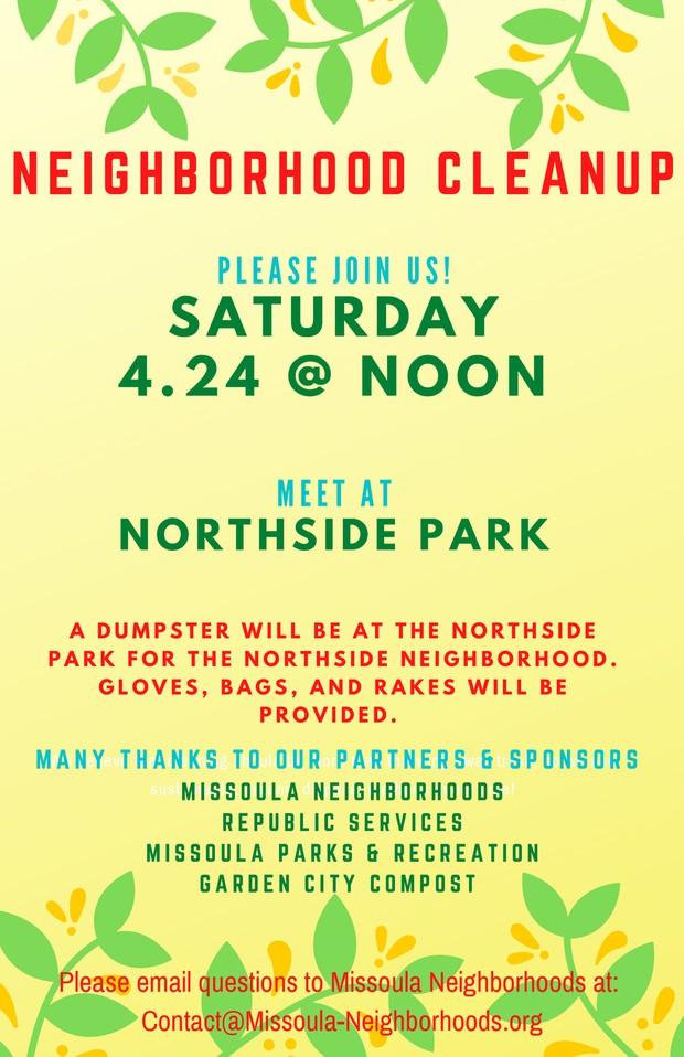 Neighborhood Cleanup Saturday, April 24