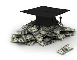 Graphic of Grad hat over a pile of money