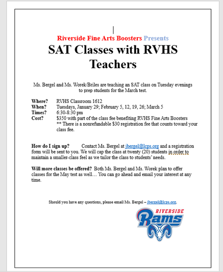 SAT Classes with RVH Teachers March and May 2019
