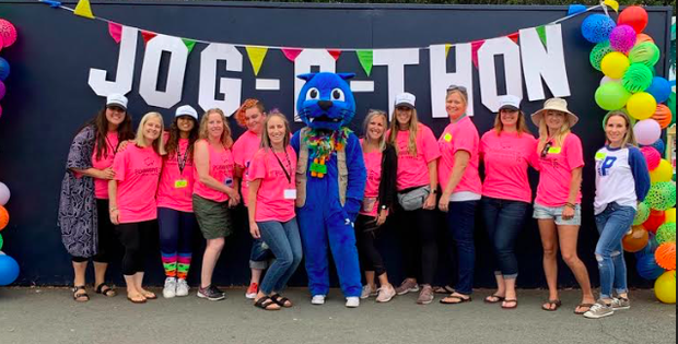 Here's most of the Jog--A-Thon committee.  There may be some missing as they stayed on their feet making magic!