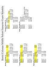 Semester Exam Schedule