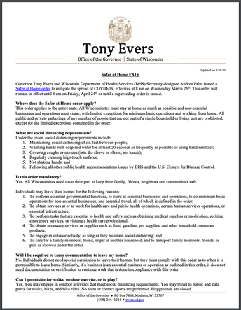 Evers FAQ about Safer-At-Home