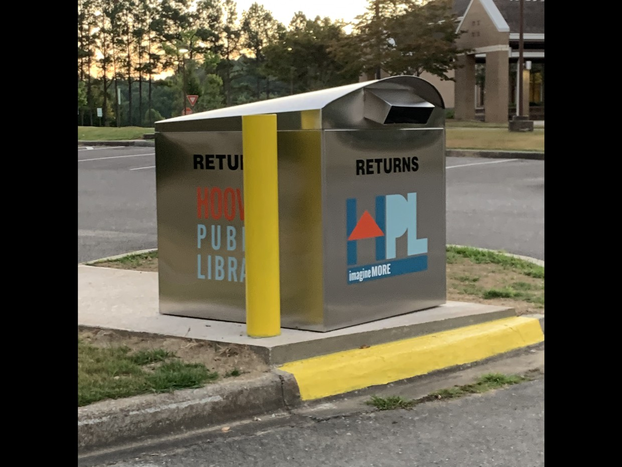 hoover public library drop box in front of Greystone