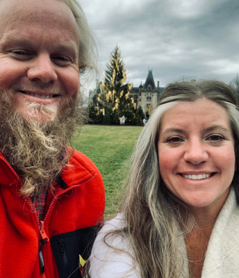 Ms. Lenore Luster (new data manager) visiting Biltmore with her husband.