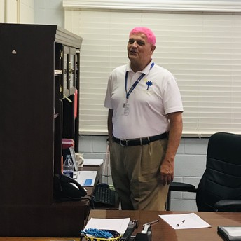 Mr Hamby styling with his new pink hairdo