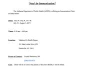 Need An Immunization?