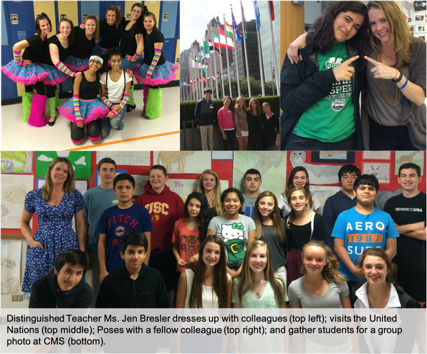 A photo collage of Distinguished Teacher Ms. Jen Bresler with staff and students.