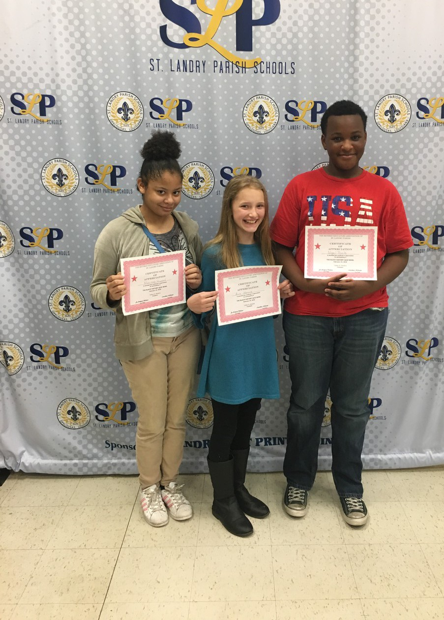 Sunset Middle School students participated in the Black History Quiz Bowl sponsored by the St. Landry Parish Retired Educators Association. Nigel Poole, Ava Harris, and Marissa Howard are pictured at the event held on Saturday, February 24th. Nigel Poole placed 3rd in the Jr. High Division.