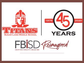 Sugar Land MS 45th Anniversary Logo