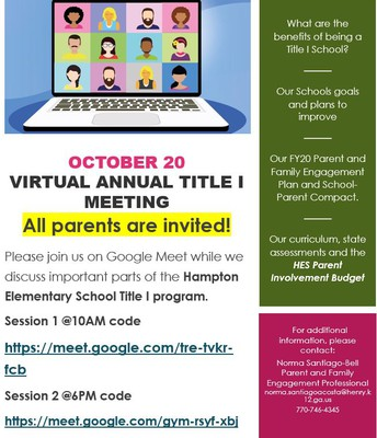 Annual Title I Virtual Parent Meeting