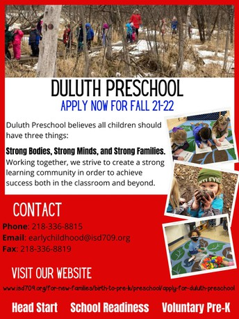 Duluth Preschool Registration Open for Fall 21-22