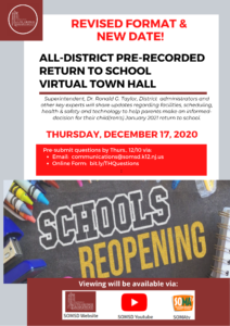 New Date & Format!  All-District Virtual Return to School Academic Town Hall