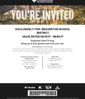 Columbia Sportswear Employee Store Invitation