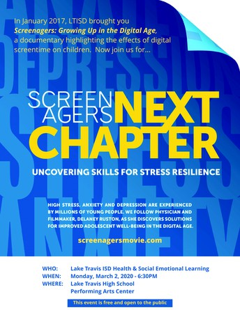 LTHS PAC to offer free screening of Screenagers NEXT CHAPTER: Uncovering Skills for Stress Resilience