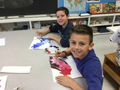 5th graders working on tints and shades