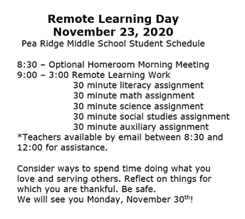 Remote Learning Day - November 23rd