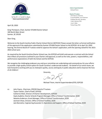 Formal Notification of Approval from SCPCSD