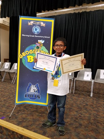 Morning Creek Elementary Student Off to National GeoBee Competition