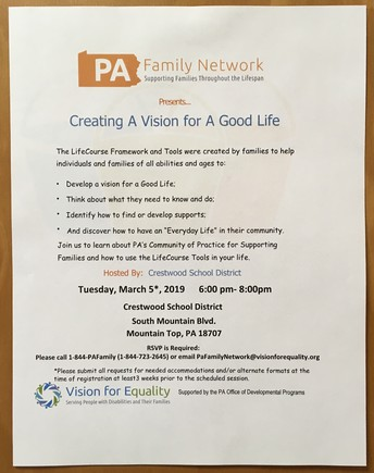 PA Family Network presents...Creating a Vision for a Good Life