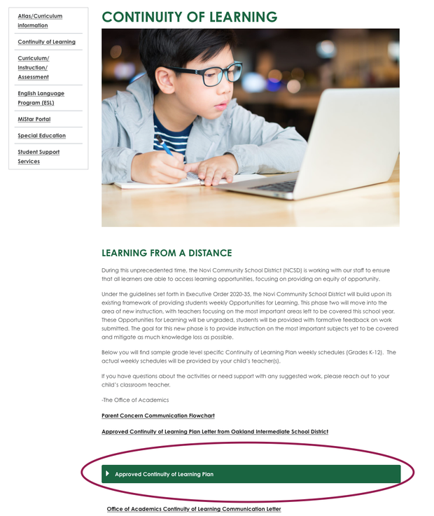 Screenshot of the NCSD webpage showing parents to click on Approved Continuity of Learning Plan to see Dr. Webber's letter