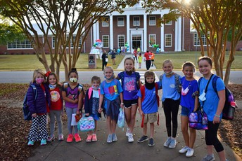 student group on walk to school day