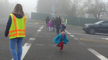 Helping students cross the street!