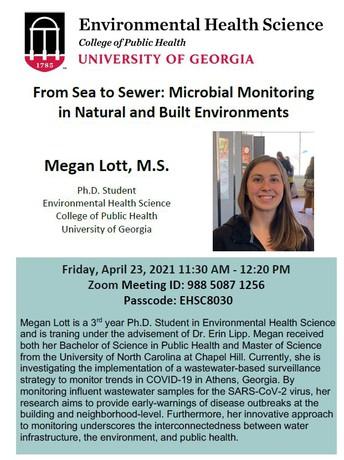 Environmental Health Seminar: From Sea to Sewer: Microbial Monitoring in Natural and Built Environments