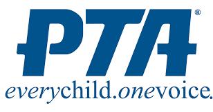 PTA logo in bold blue lettering