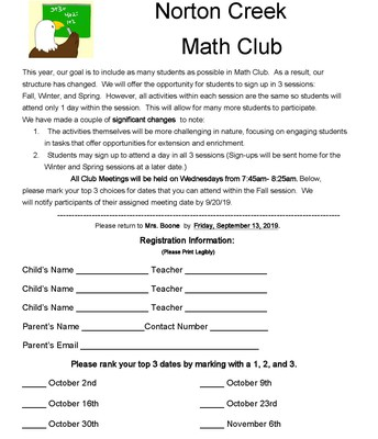 Session 1 Math Club Registration