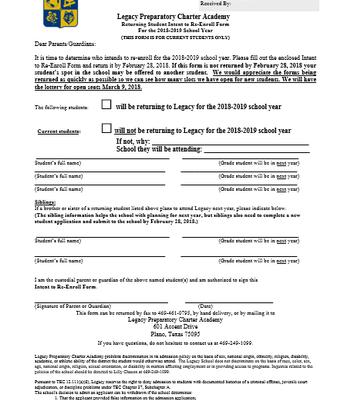 Re-Enrollment Form 2018-2019  Due now