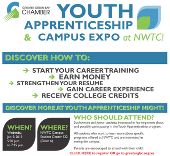 Youth Apprenticeship Information Night at NWTC on 1/9