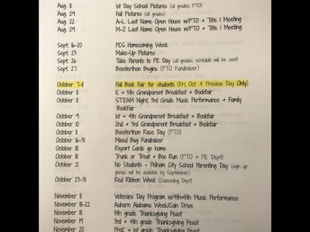 Important Dates- Note the highlighted Book Fair Revision