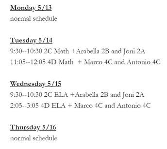Erin's NWEA Testing Schedule
