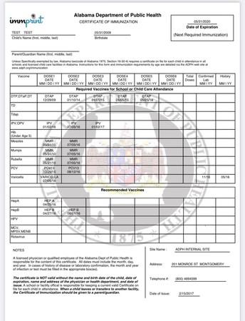 Alabama Blue Cards/Immunization Records