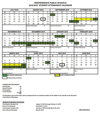 School Calendar for the 2018-2019 School Year