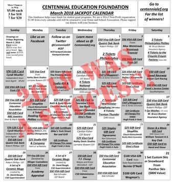Centennial Education Foundation - March 2019 Jackpot Calendar
