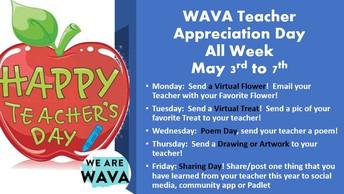 WAVA Teacher Appreciation Week is in May